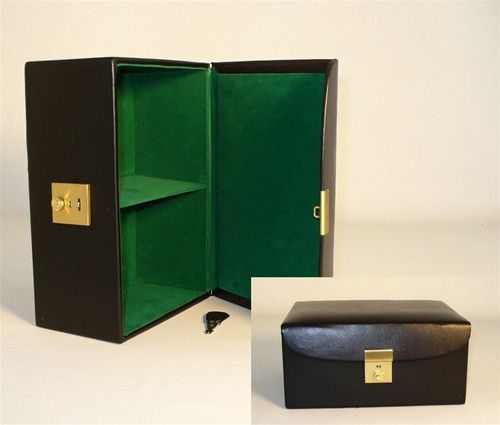 """Black Vinyl Hinged Chess Storage Box, for up to 4.25"""" King"""