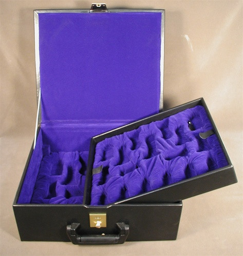 """Black Vinyl Two-Tray Box for up to 5.5"""" King"""
