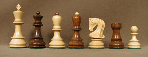 The Landgrave Sheesham and Boxwood Wood Chess Pieces 3.75""