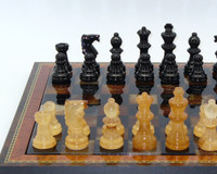 Alabaster Chess Set in Black and Brown with Wood Frame