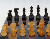 Alabaster Chess Set in Black and Brown-1