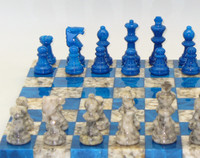 Alabaster Chess Set in Blue and Grey