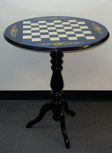 Chess Table - Round Briarwood Blue Floral Inlay
