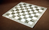 "Grey & White Alabaster Chess Board - 14.5"""