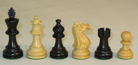 "American Emperor - Black and Natural Boxwood Chess Pieces - 3"" King"
