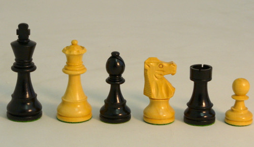 The French Knight - Black and Natural Boxwood Chess Pieces