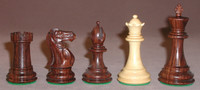 "The Majestic - Rosewood and Natural Boxwood Chess Pieces - 4"" King"