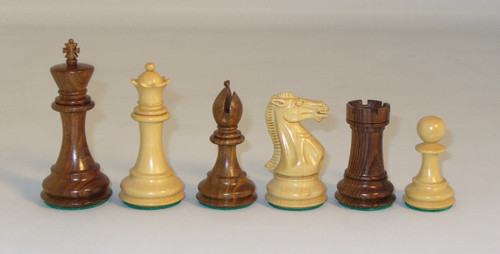 """The Majestic - Golden Rosewood and Natural Boxwood Chess Pieces - 4"""" King"""