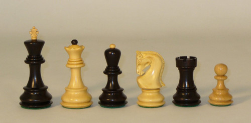 "The Zagreb - Black and Natural Boxwood Chess Pieces - 3.8"" King"
