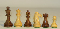 "The Mustang - Golden Rosewood and Natural Boxwood Chess Pieces - 3.75"" King"