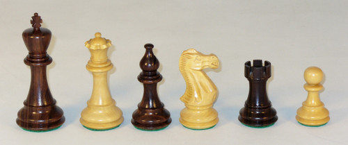 The American Classic- Rosewood and Natural Boxwood Chess Pieces - 4.25""
