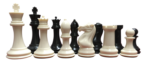Quadruple Heavy Weight Tournament Chess Game Set - Staunton 34 Ivory/Black Pieces (2 Extra Queens) & Black Vinyl Roll Up Board Chess Pieces