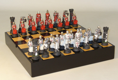 Crusades Painted Resin Chessmen Chess Pieces with a Black and Maple Chess Board with Storage