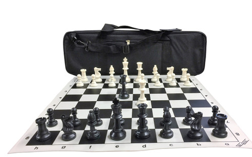 "Ultimate Chess Set Package: Triple-Weighted Heavy Chess Pieces, 2 Extra Queens, Black Roll-Up Vinyl Chess Board, Black 24"" x 9"" Carrying Case and Instructions on How to Play Chess"