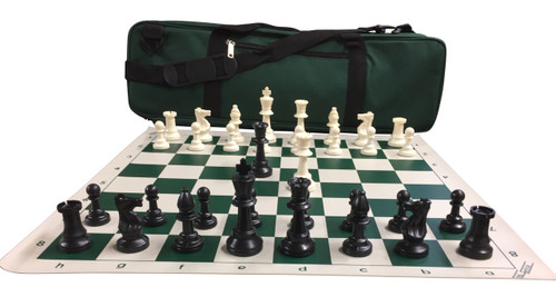 "Ultimate Chess Set Package: Triple-Weighted Heavy Chess Pieces, 2 Extra Queens, Green Roll-Up Vinyl Chess Board, Green 24"" x 9"" Carrying Case and Instructions on How to Play Chess"