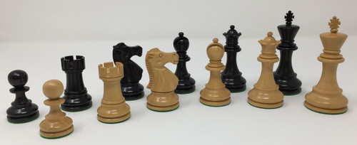 "Monarch Chess Pieces in Black and Natural Boxwood with 3.75"" King and Faux Leather Storage Box ("
