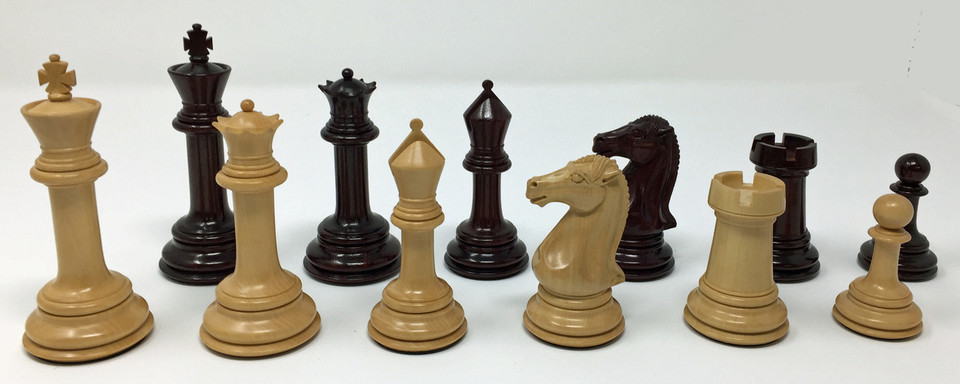 Excalibur Chess Pieces in Rosewood and Boxwood with 4