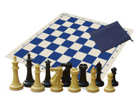 Classic Chess Set - Warlord (Natural/Black) Chess Pieces, Chess Board, Zippered Piece Bag and eBook