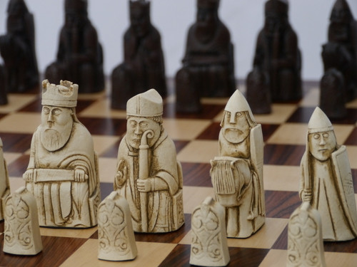 Isle of Lewis Chess Pieces - Stone Resin Antique White and Rust Brown