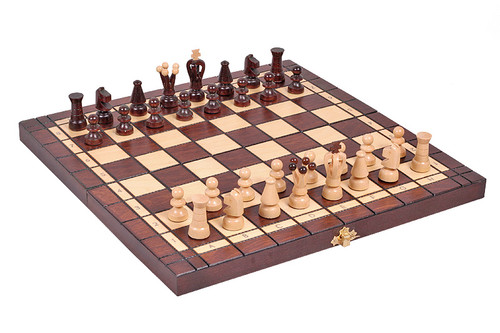 "Checkers (Draughts) and Chess Set - Hand Crafted Wooden Pieces, Board with Storage 13.7"" x 13.7"" Travel Size"