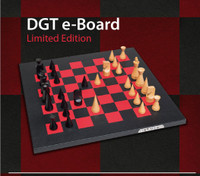 Limited Edition DGT Leather e-Board Chess Set with Modern Chess Pieces and DGT 3000 Chess Clock