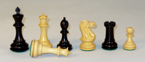 "Chess Pieces: Black and Natural Boxwood New Classic Chessmen with 4"" King"