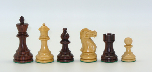 "Chess Pieces: Rosewood and Boxwood Classic Chessmen with 3.75"" King"