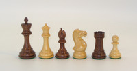 "Kikkenwood and Natural Boxwood Executive Chessmen with 4"" King"