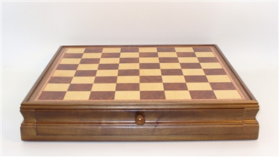 Chess Board: Inlaid Walnut and Maple Chest and Chess Board 18""