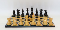 "Chess Set : Black  and Natural Boxwood New Classic Chessmen with 3.75"" King with Black and Maple Wooden Chess Board"