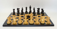 "hess Set : Black and Natural Boxwood New Classic Chessmen with 3.75"" King with Black and Maple Wooden Chess Board 17.5 inches"