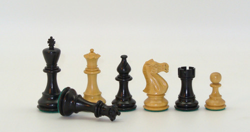 "Chess Pieces: Black and Natural Boxwood New Classic Chessmen with 3.75"" King"