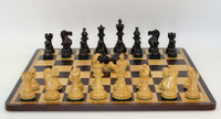 "Black and Natural Boxwood New Classic Chessmen with 3.75"" King with Ebony and Maple Wooden Chess Board 17.5 inches"
