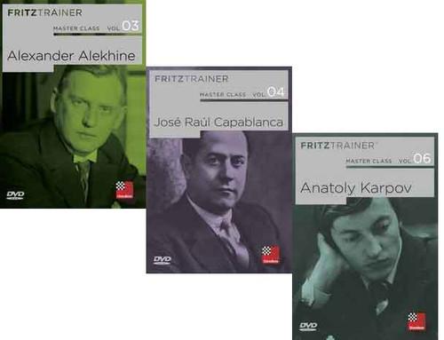 Master Class, Vol. 3, 4, 6: Alekhine, Capablanca, and Karpov  - Chess Biography Software DVD
