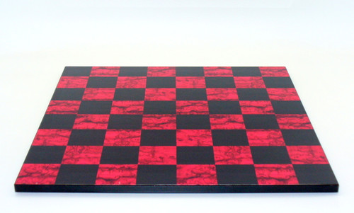 Black and Red Burl Wood and Decoupage Chess Board