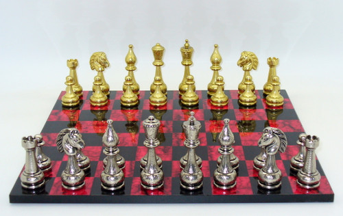 Chess Set: Staunton Metal Chess Pieces on Black and Red Chess Board