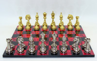 Chess Set : Staunton Metal Chess Pieces on Black and Red Chess Board