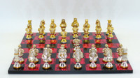 Chess Set: Camelot Metal Chess Pieces on Black and Red Chess Board