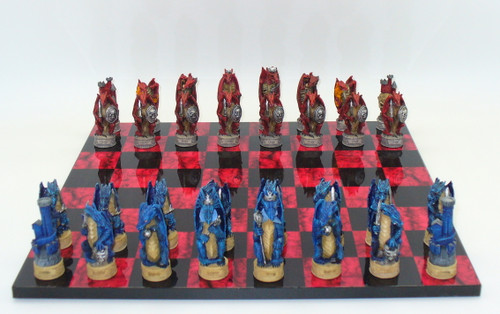 Chess Set: Dragon's Realm Chess Pieces on Black and Red Chess Board