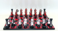 Chess Set: Crusader Chess Pieces on Black and Red Chess Board