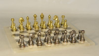 Treviso Refinement Chess Set - Chess Pieces and Matching Grey Alabaster Chess Board