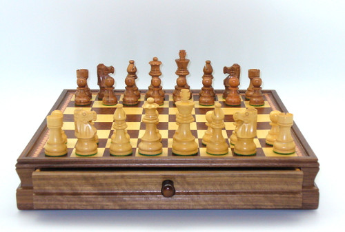 Copy of The Kirkwood Chess Pieces with Walnut/Maple Chest wwith Drawerdrawer