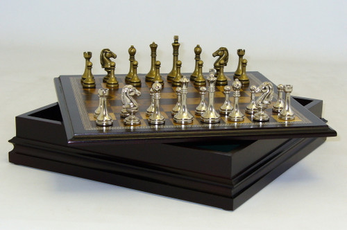 Chess Set: Metal staunton Design Chess Pieces in Wood Chest