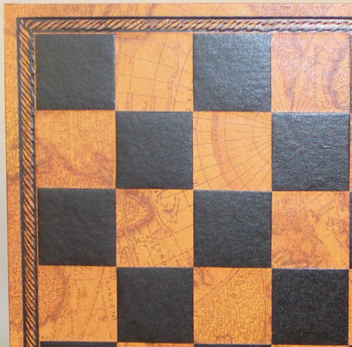 """Faux Leather Board MAP Chess Board Black and Gold 1.75"""" squares"""