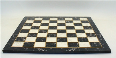 """Marbelized Black and White, Gold Trim, Alpha Numeric Wood Decoupage Chess Board 17"""" with 1.5 square"""