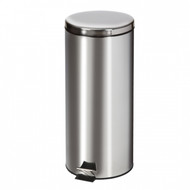 Large Round Stainless Steel Waste Receptacle - 32 Quart