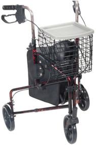 "Deluxe 3 Wheel Aluminum Rollator 7.5"" Casters - Red"