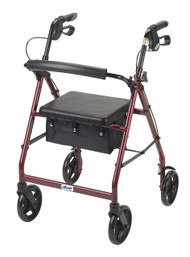 "Drive Medical Aluminum Rollator 7.5"" Casters - Red"