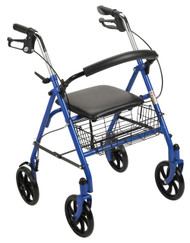 "Durable 4 Wheel Rollator with 7.5"" Casters - Blue"