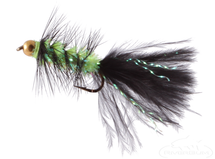 Krystal Flash Bugger, Bead Head, Black/Chartreuse Body